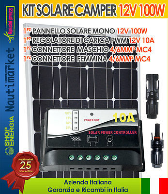 Solar kit panel 12V 100W + PWM charger 10A + MC4 connector #30200118-E