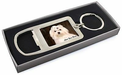 Maltese Dog 'Love You Dad' Chrome Metal Bottle Opener Keyring in Box , DAD-77MBO