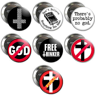 ATHEIST BUTTONS skeptic no god anti-religion inverted cross darwin badges truth