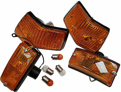 ukscooters VESPA INDICATORS SET OF 4  FREE BULBS REAR FRONT ORANGE COMPLETE PX