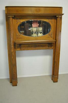 Antique Quarter Sawn Oak Fireplace Mantle With Oval Beveled Mirror