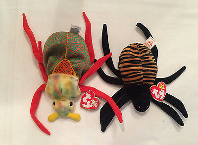TY Beanie Babies Lot Spider Beetle Spinner Scurry Originals 2000 1996 Retired