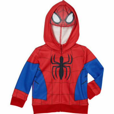NEW Boy's Spider-Man Red Zip-Up Sweater Costume Hoodie w/ Mask