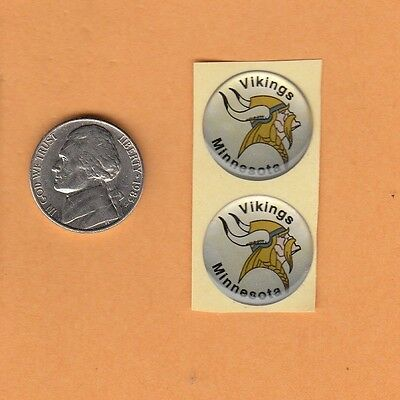 RARE 2 OLD 1970's MINNESOTA VIKINGS 3/4 inch 3D DECAL STICKERS UNUSED STOCK