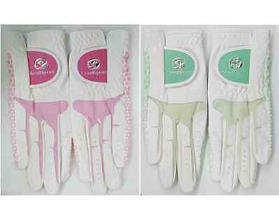[1 Pair] Women Ladies Southport Golf Glove Pink & Green NEW!!