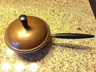 Vtg COPRAL Small Copper Pot With Lid Wooden Handles Portugal