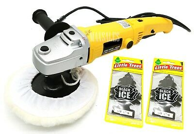 """7"""" VARIABLE 6-SPEED ELECTRIC CAR POLISHER/BUFFER W/ 2 Little Trees Air Freshener"""