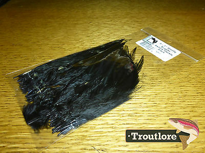 "Black Woolly Bugger Saddle Hackle 6-7"" - New Fly Tying Feathers Hareline"
