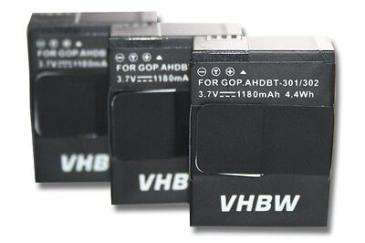 3x Batterie 1180mAh pour Gopro Hero 3 III Black Edition