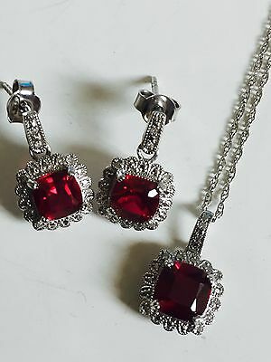 Womens genuine new diamond and ruby necklace earrings set Sterling silver 925