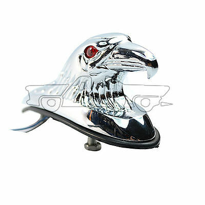 Eagle Head Ornament Statue Red Eye LED For Motorcycle Front Fender Car Chrome