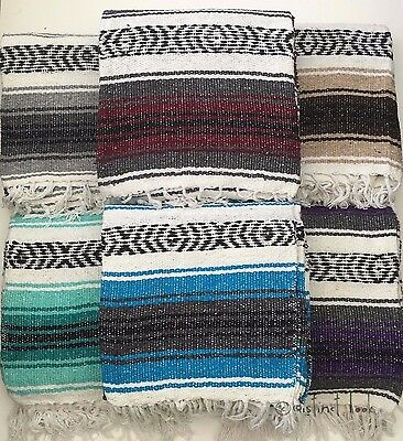 Mexican Falsa Blanket/Throw/Rug, 9 colours HAND LOOMED Recyled Yarn Yoga Camping