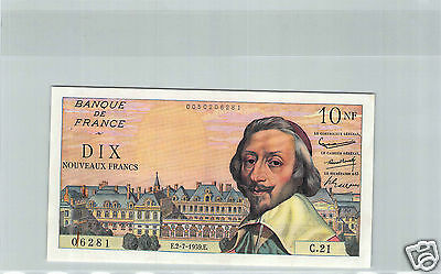 FRANCE 10 NF RICHELIEU 2.7.1959 C.21 N° 0050206281 PICK 142a