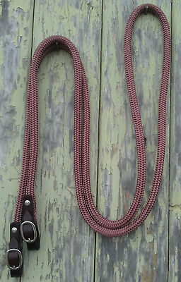8ft Loop Rope Reins with Leather Buckled Ends - Dressage, Eventing, Horsemanship