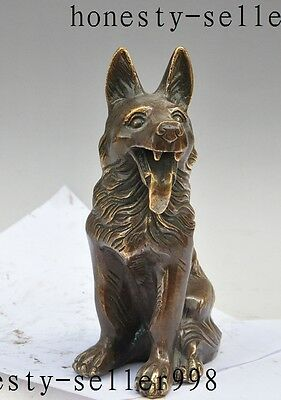 """9"""" Old Chinese FengShui Bronze Wealth Zodiac Wolf Dog Animal Statue Sculpture"""