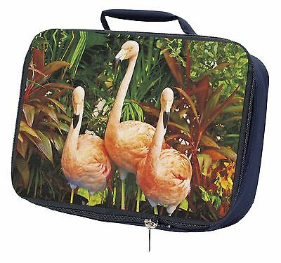 Pink Flamingo Print Navy Insulated Lunch Box, AB-74LBN