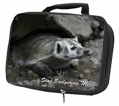 Badger-Stop Badgering Me! Black Insulated Lunch Box, ABA-3LBB
