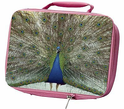 Rainbow Feathers Peacock Insulated Pink Lunch Box, AB-PE13LBP