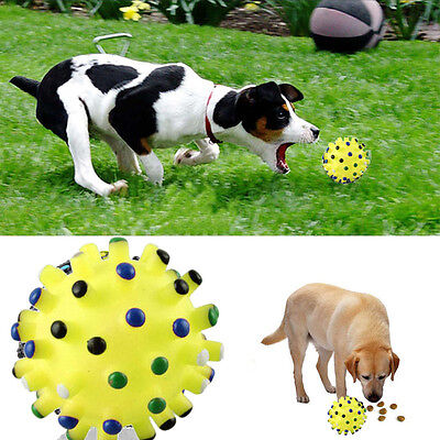Pet Dog Cat Food Dispenser Squeaky Giggle Quack Sound Training Toy Chew Ball