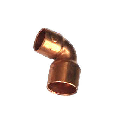 """1/2"""" x 3/8"""" inch 90° Degree Elbow Wrot Copper Sweat Fitting- Pack of 10"""
