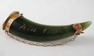 100% Genuine Antique Vintage 9ct Solid Yellow Gold  Huge Emerald Tooth Brooch
