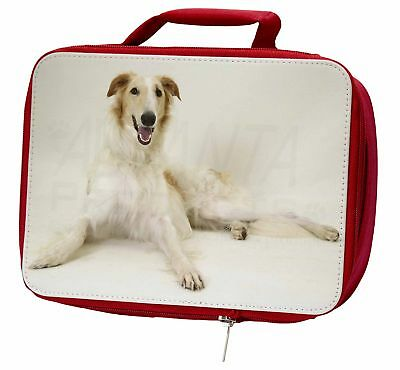 Borzoi Dog Insulated Red Lunch Box, AD-BZ1LBR