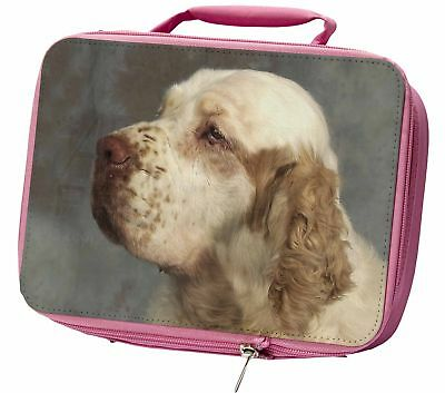 Clumber Spaniel Dog Insulated Pink School Lunch Box Bag, AD-CS1LBP