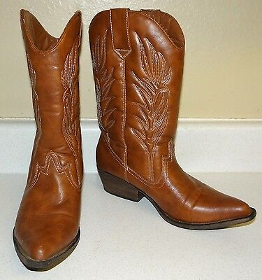 Women's CANDIE'S Western Cowboy Boots Brown Leather Size 8M - EUC - Padded Shaft