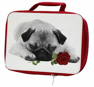 Pug (B+W Photo) with Red Rose Insulated Red Lunch Box, AD-P92R2LBR