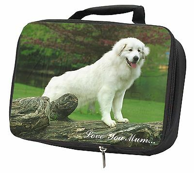 Pyrenean Mountain Dog 'Love You Mum' Black Insulated Lunch Box, AD-PM1lymLBB