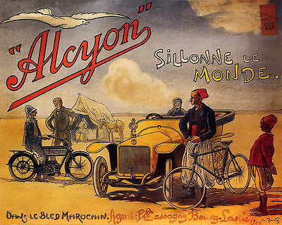 Poster Alcyon French Car Bike Travels The World Desert Vintage Repro Free S/H