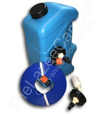 CARAVAN MAINS WATER ADAPTER KIT & Container and non toxiC FLAT HOSE EASY STORAGE