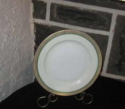 """""""MEITO CHINA""""  Dinner plates 9 7/8 gold banded green Line Buy what you need :"""