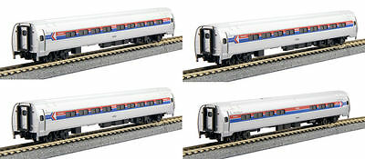 Kato N 106-8011 Amtrak/Amfleet I Phase I Four Passenger Car Set In Bookcase New!