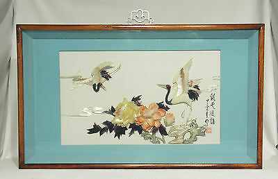 Vintage Large Japanese Hand Carved Shell Art Shadow Box
