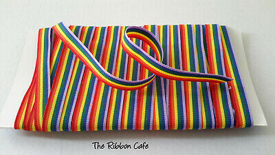 Pride LGBT RAINBOW ribbon double-sided 10mm 15mm  Choose 1,2,3,4,5 metres