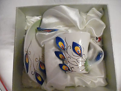 Peacock Cup Saucer & Spoon