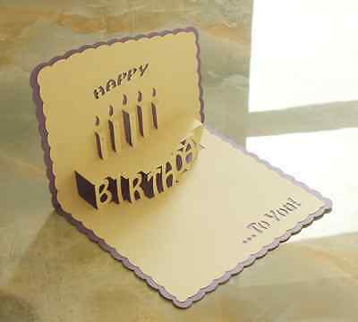 *HAPPY BIRTHDAY* Pop Up 3D Handmade Greeting Card with Envelope PURPLE