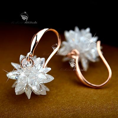 18k white rose gold gf made with SWAROVSKI crystal hook earrings flower blossom