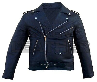 Men's Party Costume Brando Motorbike Fashion Real Cowhide Leather Jacket Punk