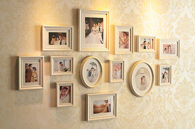 Luxry White Wooden Romatic Wedding Photo Frames13 PCs Multi Picture Frame Set