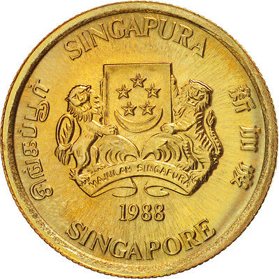 [#18230] Singapore, 5 Cents, 1988, British Royal Mint, Aluminum-Bronze,...