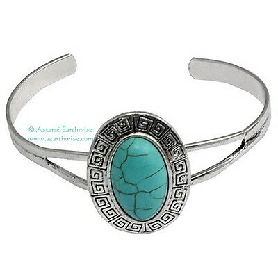 TURQUIOSE CUFF BRACELET - ADUSTABLE Wicca Witch Pagan Yoga GODDESS