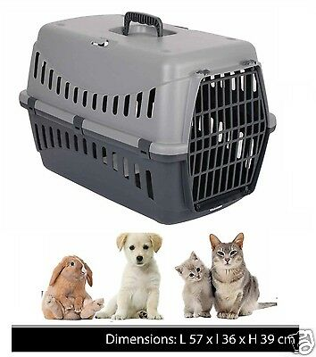 Large Pet Carrier Puppy Dog Cat Kitten Rabbit Carry Basket Travel Cage Plastic