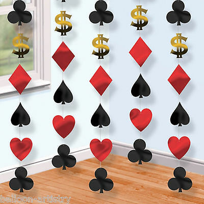 6 Casino Playing Card Suits Dollars Poker Night Party Hanging String Decorations
