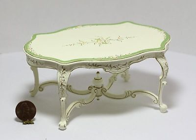 Dollhouse Miniature Green and White Hand Painted Dining Room Table