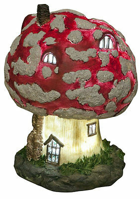 Large Solar Powered Soft LED Toadstool Fairy House Garden Ornament Light