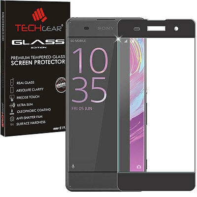 Black TECHGEAR TEMPERED GLASS FULL Coverage Screen Protector for Sony Xperia XA