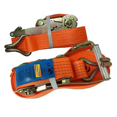 2 X Ratchet Strap 5 Ton Load 50mm Wide X 10 M Meter Lashing Tie Down 5000kg NEW