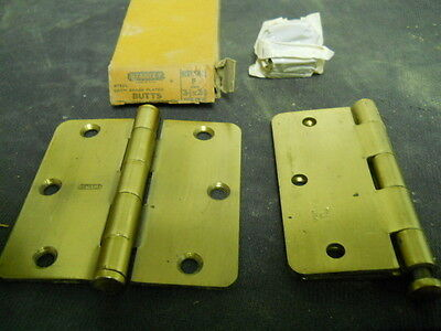 """New Pair of Stanley RD741 / 3-1/2"""" x 3-1/2"""" Steel Hinges, Satin Brass Plated"""